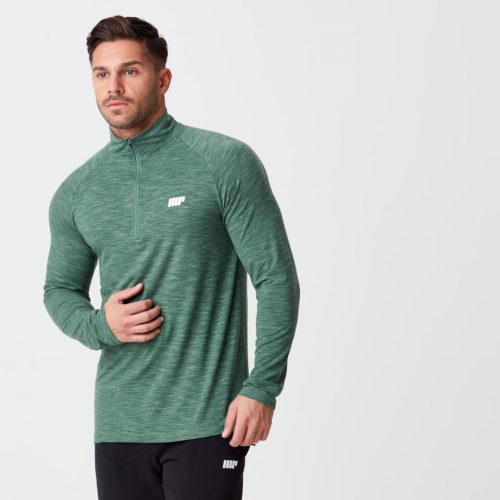 Performance Long Sleeve 1/4 Zip Top - Dark Green Marl - XXL