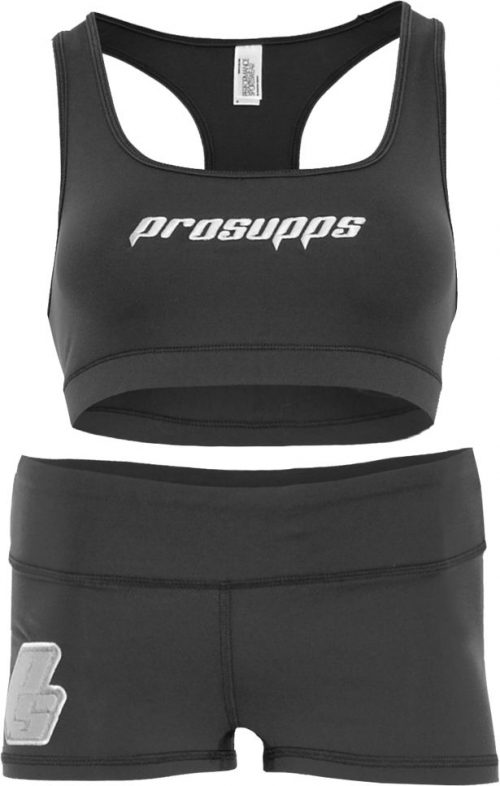 ProSupps Fitness Gear Sports Bra & Shorts - Gunmetal Small