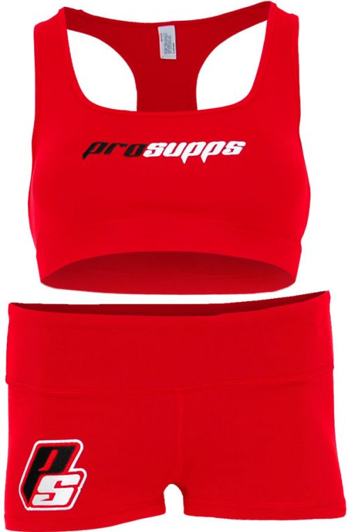 ProSupps Fitness Gear Sports Bra & Shorts - Red Small