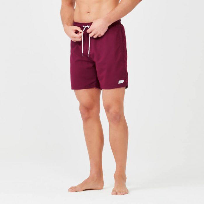 Regular Length Swim Shorts - Burgundy - M