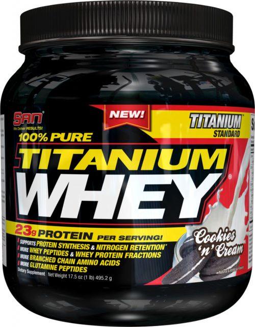 SAN 100% Pure Titanium Whey - 1lb Cookies & Cream