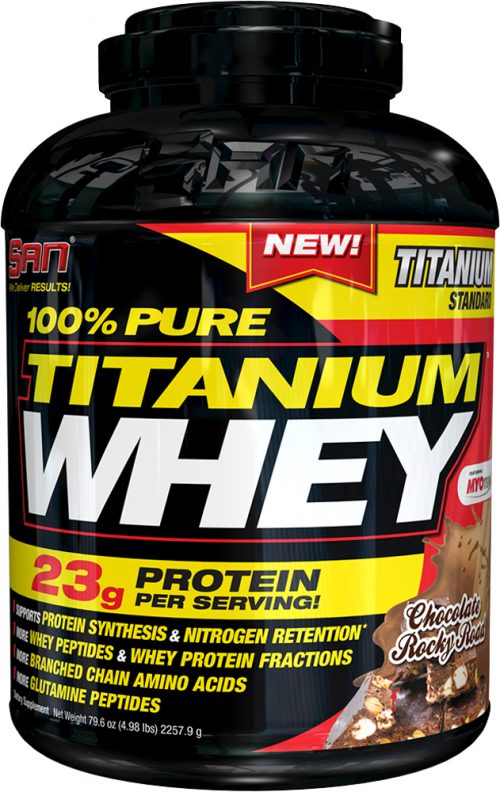 SAN 100% Pure Titanium Whey - 5lbs Chocolate Rocky Road