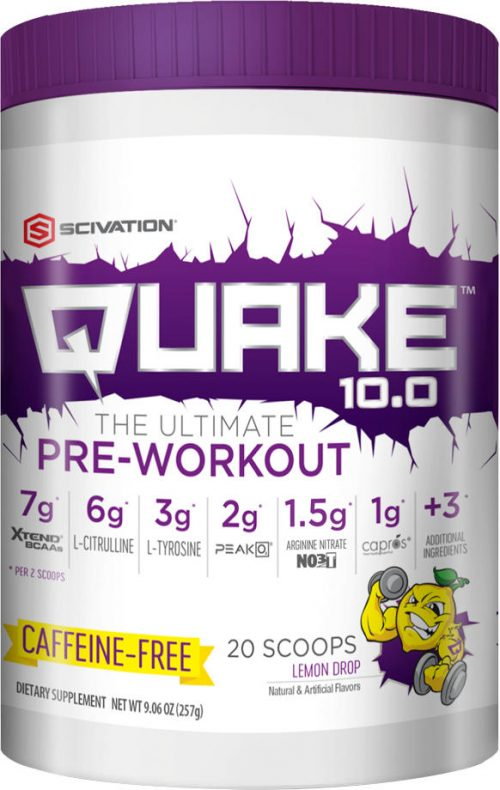 Scivation Quake 10.0 - 20 Servings Lemon Drop Caffeine Free
