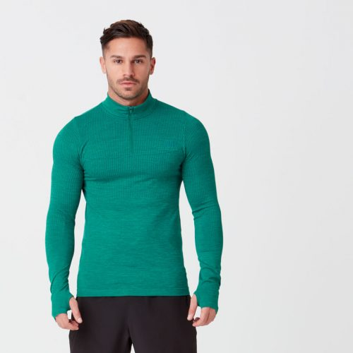 Sculpt Seamless 1/4 Zip Top - Dark Green - M