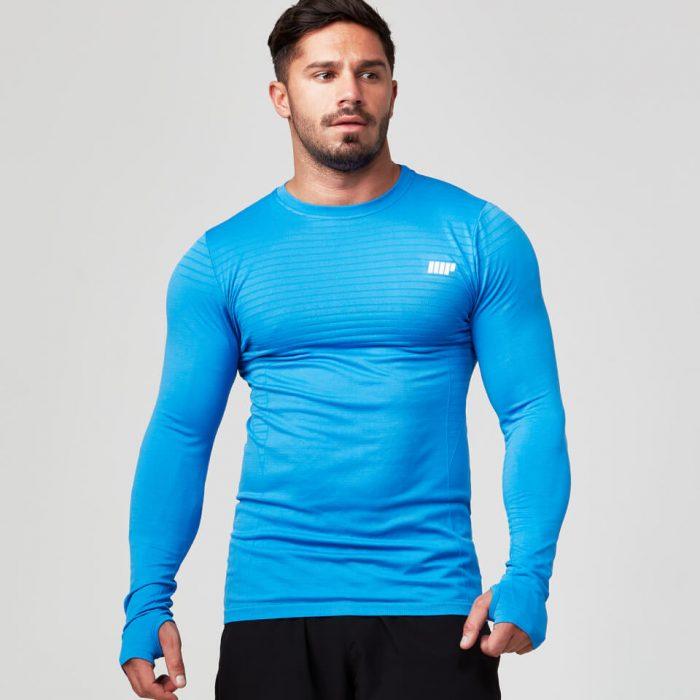 Seamless Long Sleeve T-Shirt - Dark Blue - L