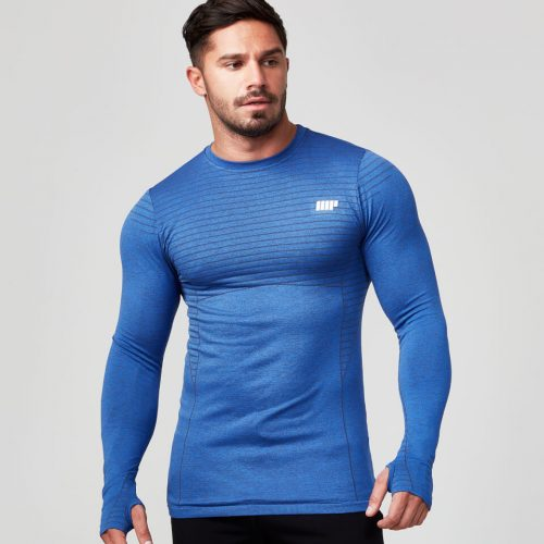Seamless Long Sleeve T-Shirt - Navy - M