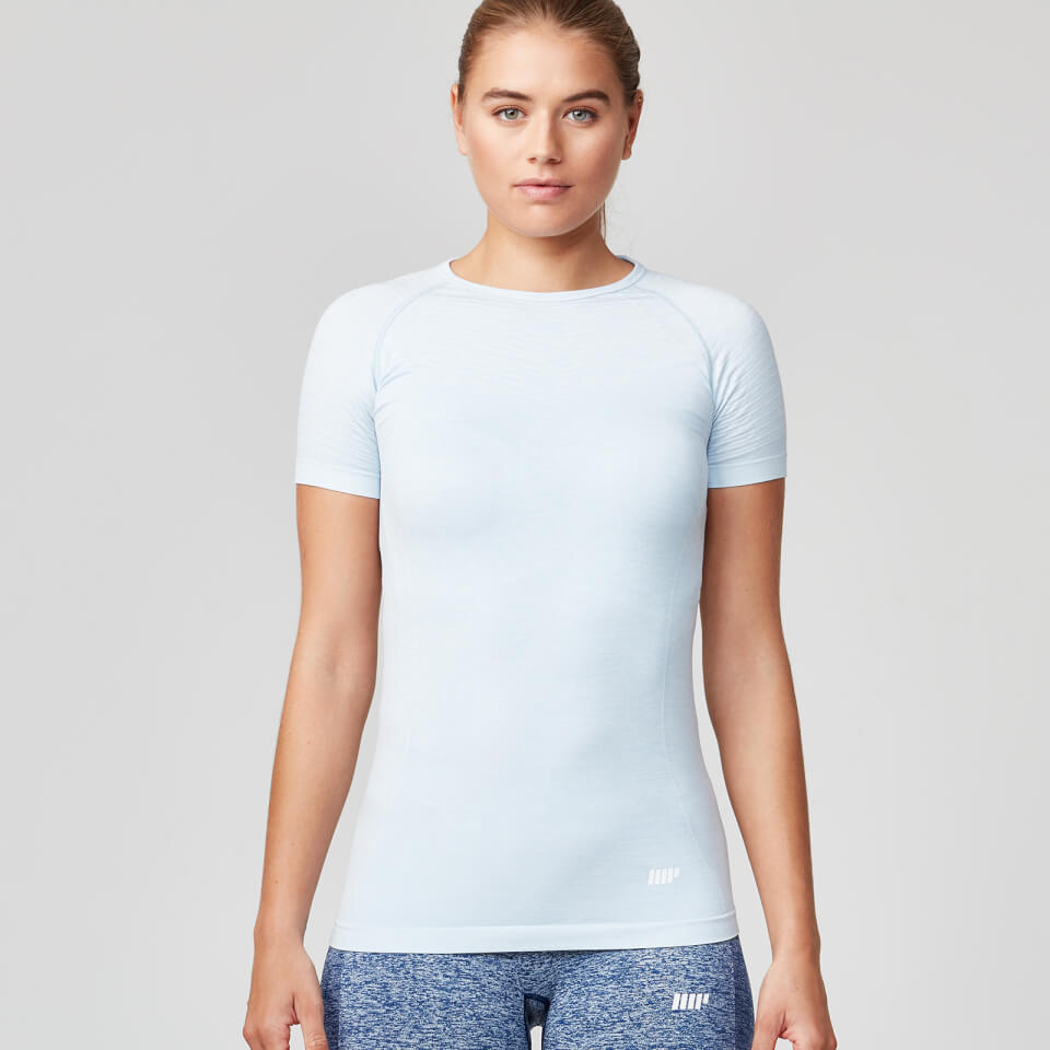 Seamless Short Sleeve T-Shirt - Smoke Blue - XS
