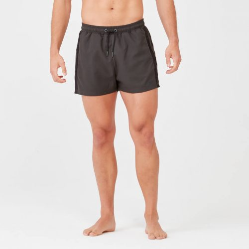 Short Length Stripe Swim Shorts - Dark Khaki/Black - S