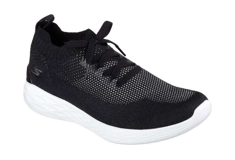 Skechers Knitted Slip Ons - Men's - black/white, 10.5