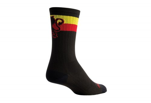 "Sock Guy SGX 6"" Belgie Lion Socks - black/red/yellow, s/m"