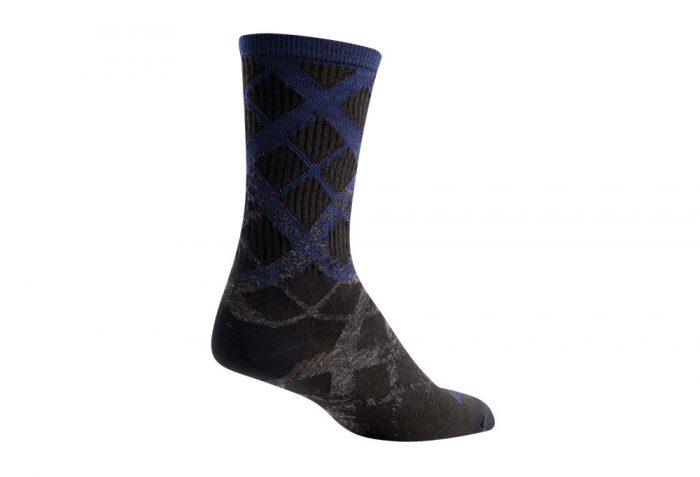 "Sock Guy Wool Crew 6"" Fade Socks - black/blue/grey, s/m"