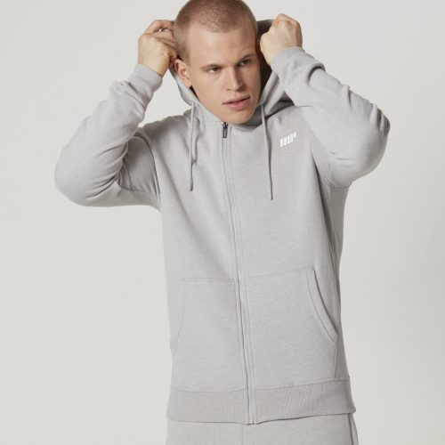 Tru-Fit Zip Up Hoodie - Grey Marl - XS