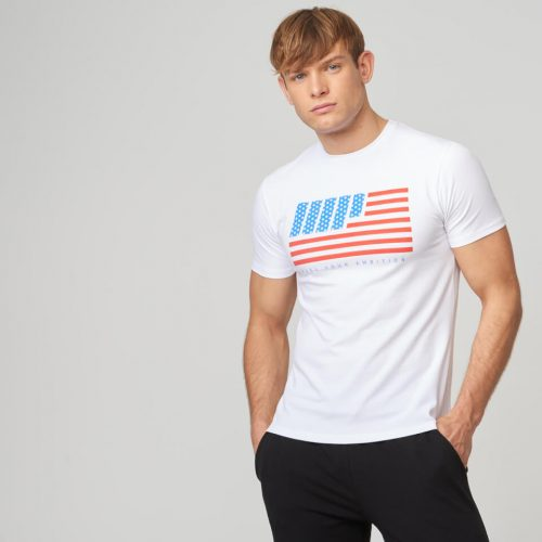 USA Stars and Stripes T-Shirt - White - XL