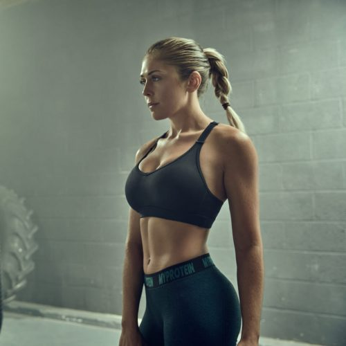 Women's Jan Outfit 1: Sports Bra - S - Black, Leggings - Green - XS