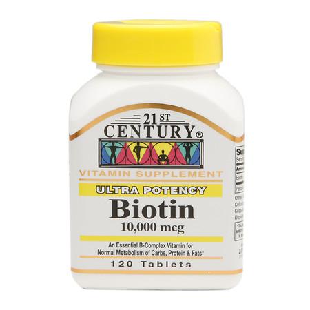 21st Century Biotin 10,000 mcg, Tablets - 120 ea