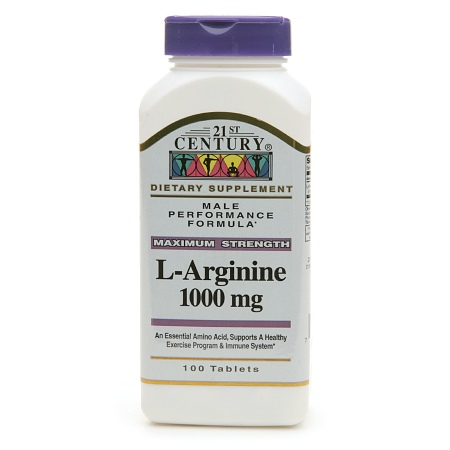 21st Century L-Arginine 1000mg, Maximum Strength - 100 tablets