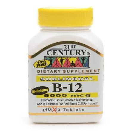 21st Century Sublingual Vitamin B-12 5000mcg - 110 tablets