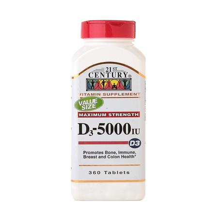 21st Century Vitamin D3 5000 IU, Tablets - 360 ea