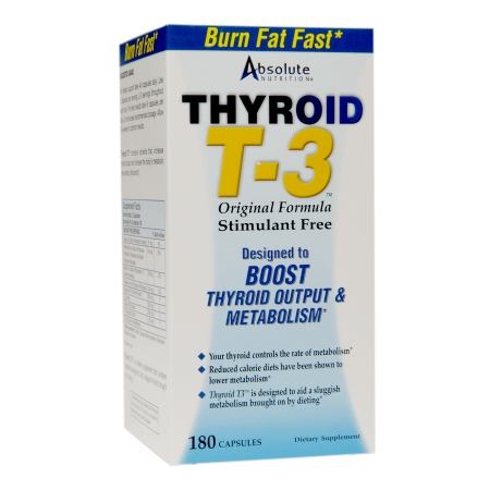 Absolute Nutrition Thyroid T-3 Stimulant Free, Capsules - 180 ea