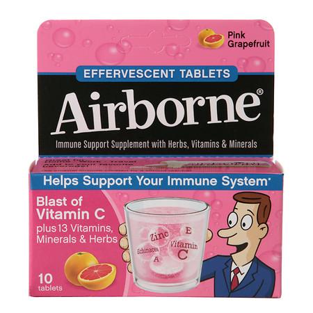 Airborne Effervescent Health Formula Tablets Pink Grapefruit - 10 ea