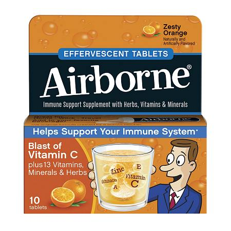 Airborne Effervescent Tablets Zesty Orange - 10 ea
