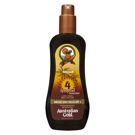 Australian Gold Spray Gel with Instant Bronzer, SPF 4 - 8 fl oz