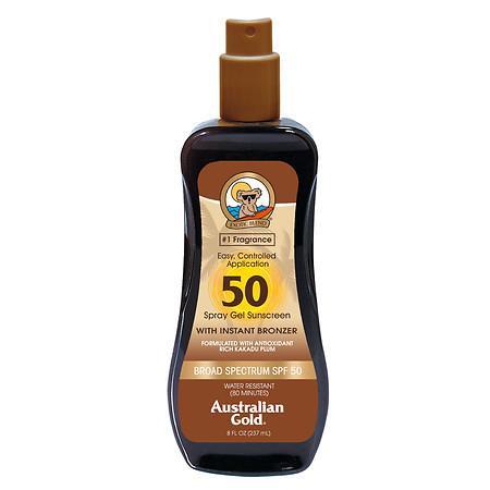 Australian Gold Sunscreen Spray Gel With Instant Bronzer SPF 50 - 8 oz.