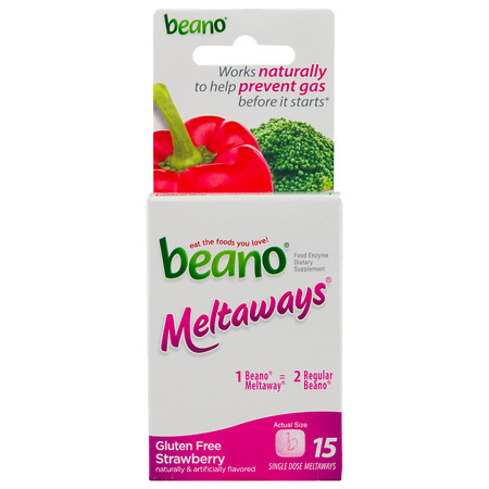 Beano Meltaways Food Enzyme Dietary Supplement Strawberry - 15 ea
