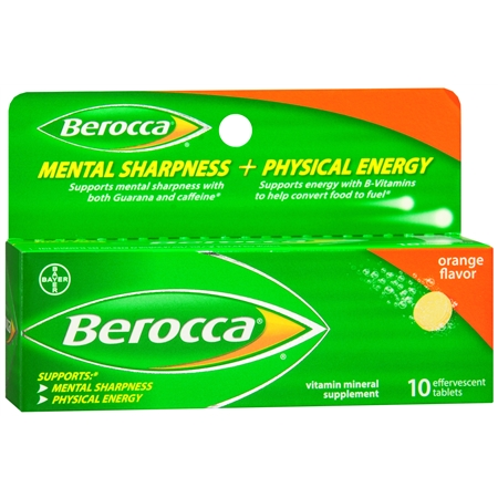 Berocca Mental Sharpness + Physical Energy Effervescent Tablets Orange - 10 ea