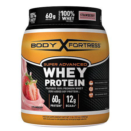 Body Fortress Super Advanced Whey Protein Powder Strawberry - 31.2 oz.