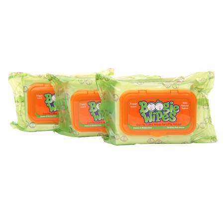Boogie Wipes Gentle Saline Wipes for Stuffy Noses, 3 Pack Fresh Scent - 90 ea
