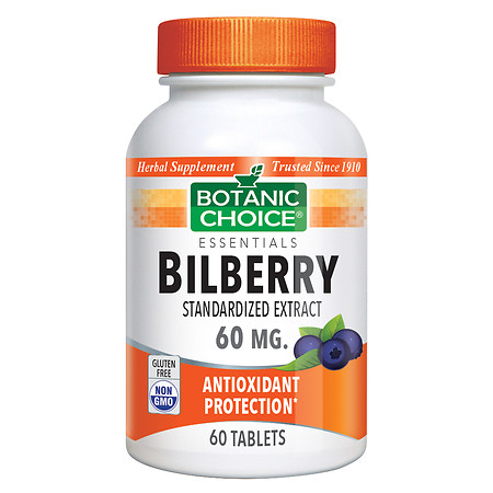 Botanic Choice Bilberry Extract 60 mg Herbal Supplement Tablets - 60 ea