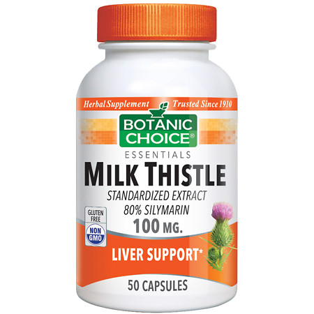 Botanic Choice Milk Thistle 100 mg Herbal Supplement Capsules - 50 ea.