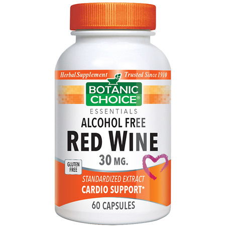 Botanic Choice Red Wine 30 mg Herbal Supplement Capsules - 60 ea.