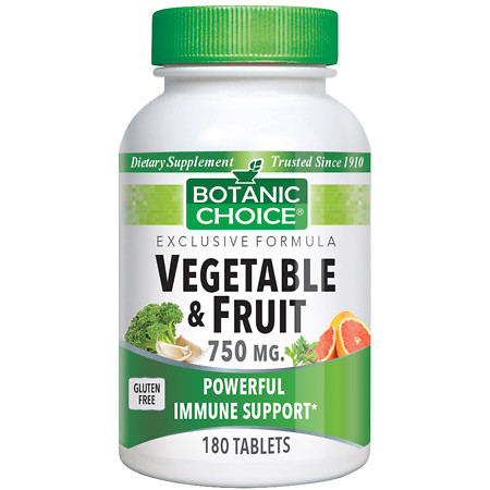 Botanic Choice Vegetable & Fruit 750 mg Dietary Supplement Tablets - 180 ea.