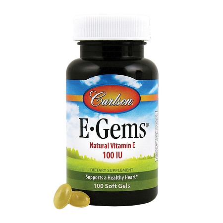 Carlson E-Gems Natural Vitamin E 100 IU, Softgels - 100 softgels