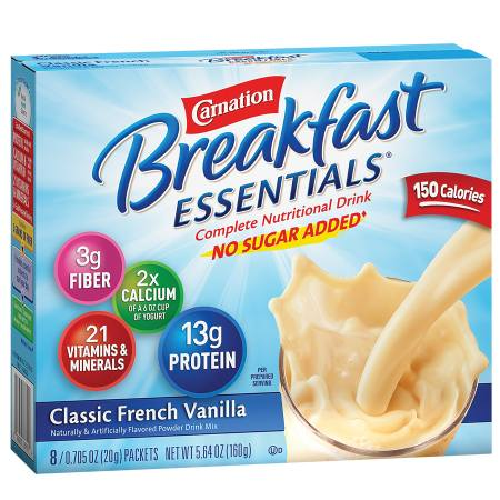 Carnation Breakfast Essentials Complete Nutritional Drink, No Sugar Added, Packets Classic French Vanilla - 0.7 oz.
