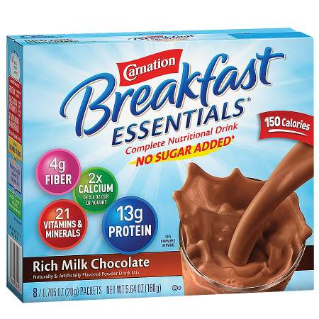 Carnation Breakfast Essentials Complete Nutritional Drink, No Sugar Added, Packets Rich Milk Chocolate - 0.7 oz.
