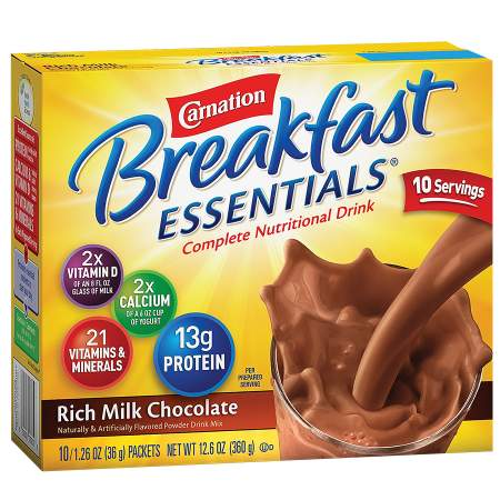 Carnation Breakfast Essentials Complete Nutritional Drink, Packets Rich Milk Chocolate - 1.26 oz.