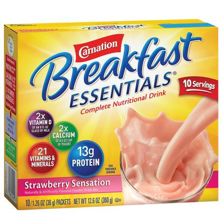 Carnation Breakfast Essentials Complete Nutritional Drink, Packets Strawberry Sensation - 1.26 oz.