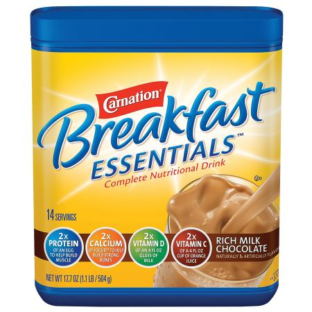 Carnation Breakfast Essentials Complete Nutritional Drink, Powder Rich Milk Chocolate - 17.7 oz.