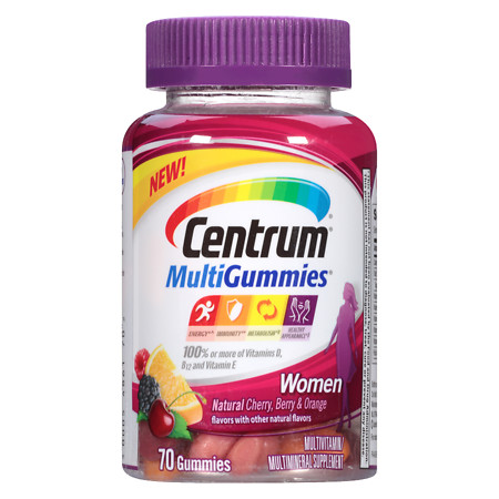 Centrum Women, MultiGummies MultivitaminMultimineral Supplement Gummies Cherry - 70 ea