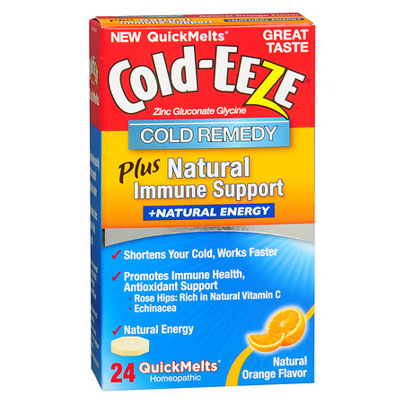 Cold-Eeze Cold Remedy Plus Natural Immune Support + Energy QuickMelts Orange - 24 ea