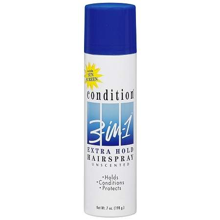 Condition 3-in-1 Extra Hold Hair Spray, Aerosol Unscented - 7 oz.