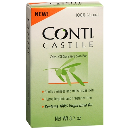 Conti Castile Olive Oil Sensitive Skin Bar Soap Fragrance Free - 3.7 oz.