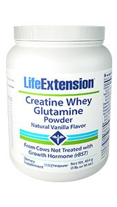 Creatine Whey Glutamine Powder (Vanilla), 454 grams (1 lb. or 16 oz.)