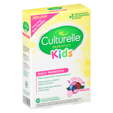 Culturelle Kids! Chewables Probiotic, For Kids 50-100lbs, Tablets Bursting Berry - 30 ea
