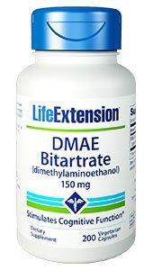 DMAE Bitartrate (dimethylaminoethanol), 150 mg, 200 vegetarian capsules
