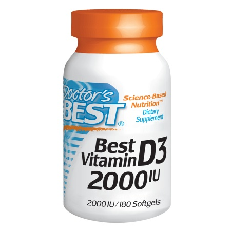 Doctor's Best Best Vitamin D3, 2000 IU, Softgels - 180 ea