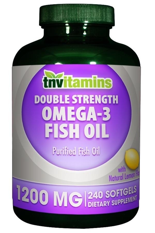 Double Strength Omega 3 Fish Oil Lemon Flavor Softgels 1200 Mg